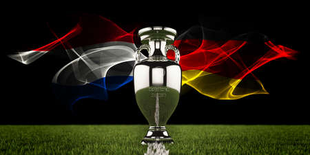 European Championship Trophy with national flags of Netherlands and Germany. Football or soccer tournament. Soccer match. Euro cup. 3d render.