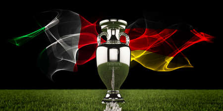 European Championship Trophy with national flags of Italy and Germany. Football or soccer tournament. Soccer match. Euro cup. 3d render. Archivio Fotografico