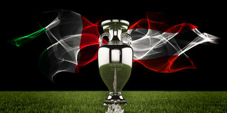 European Championship Trophy with national flags of Italy and Austria. Football or soccer tournament. Soccer match. Euro cup. 3d render. Archivio Fotografico