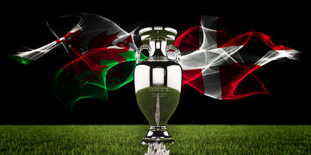 European Championship Trophy with national flags of Wales and Denmark. Football or soccer tournament. Soccer match. Euro cup. 3d render.