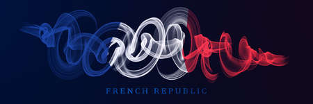 French National Holiday. French Flags with stripes and national colors. Tricolor.  14th July. Banner. Archivio Fotografico