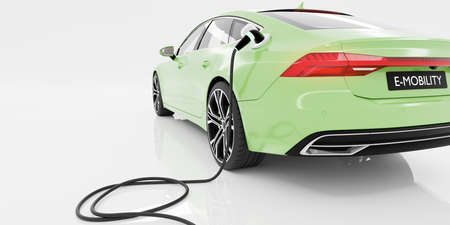 E-Mobility and ecology. Charging an electric sports car with white background. Charging battery concept. 3D rendering.
