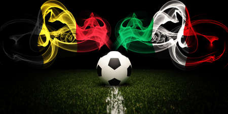 Football tournament. Football with national flags of Belgium and Italy. Soccer ball and text. 3d rendering. Soccer match.