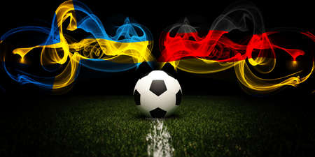 Football tournament. Football with national flags of Sweden and Germany. Soccer ball and text. 3d rendering. Soccer match. 版權商用圖片
