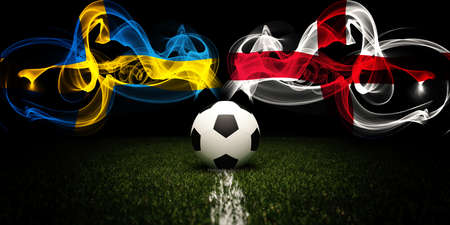 Football tournament. Football with national flags of Sweden and England. Soccer ball and text. 3d rendering. Soccer match.