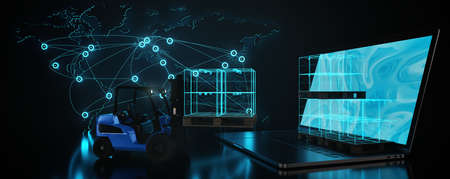Transport and logistics. Forklift lift and transports digital cardboards into globally networked goods system. Connected world. Digital logistic network distribution. Transport or cargo concept.