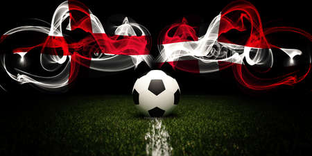 Football tournament. Football with national flags of England and Denmark. Soccer ball. 3d rendering. Soccer match. 版權商用圖片