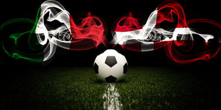 Football tournament. Football with national flags of Italy and Denmark. Soccer ball. 3d rendering. Soccer match.