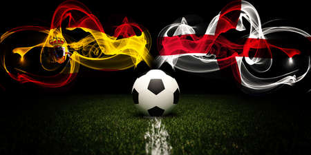 Football tournament. Football with national flags of Spain and England. Soccer ball. 3d rendering. Soccer match.