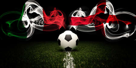 Football tournament. Football with national flags of Italy and England. Soccer ball. 3d rendering. Soccer match.