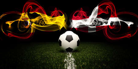 Football tournament. Football with national flags of Spain and Denmark. Soccer ball. 3d rendering. Soccer match.