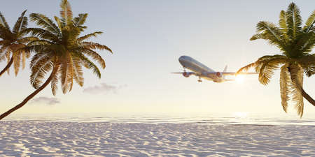 Summer holiday concept. Travel around the world. Airplane flies over palm beach by sunrise or sunset. 3d rendering.