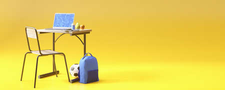 Back to school concept. School desk with modern school accessories and backpack. 3D rendering. Education concept.