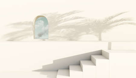 Podium or empty pedestal concept. Steps leading to wall podium with small window. Blank product shelf standing backdrop. Minimal style. 3D rendering. Archivio Fotografico