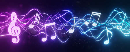 Musical note concept. Staff treble clef notes. Music concert or worship night with colorful lights and bokeh background. Song or music with wide backdrop. 3D rendering. Archivio Fotografico