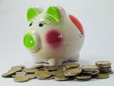 Piggy Bank and Coin Isolated photo