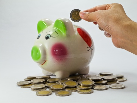 Hand Putting Coin in Piggy Bank Stock Photo - 9627647