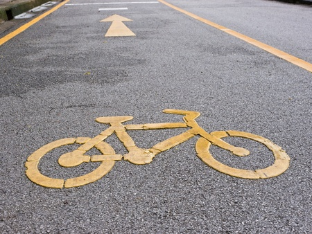 Bicycle lane in a park photo