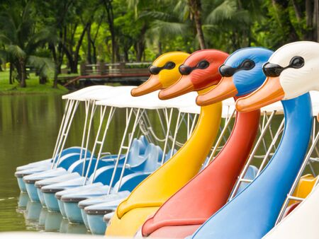 Colorful watercycle boat in park photo