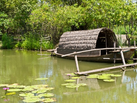 punt: Punt in local pond, countryside of Thailand
