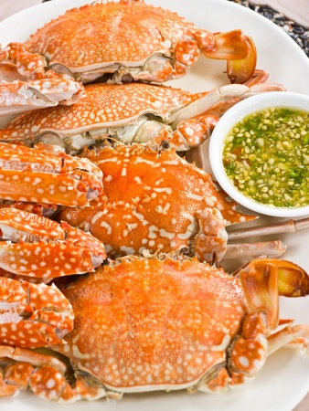 Steamed Blue swimming crab photo
