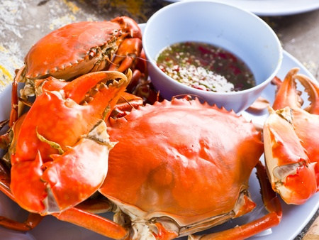 Steamed crab with spicy sauce Stock Photo