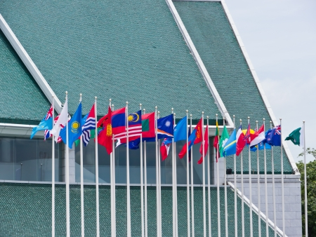 International flags in front of UN building in Bangkok, Thailand photo