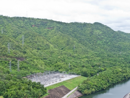 Electricity power station of Srinakarin dam in Thailand photo
