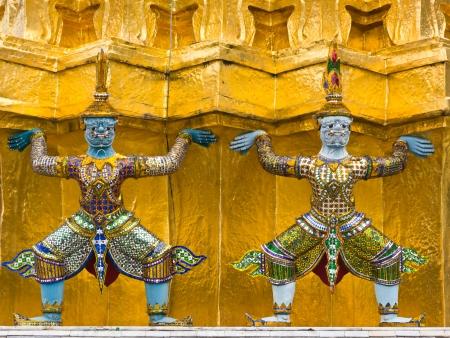 Guardian of pagoda, art in Wat Phra Kaew Stock Photo
