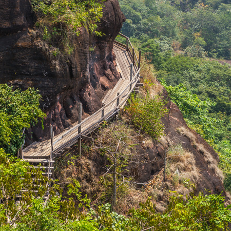 Wood bridge on mountain at Phutok, Thailand Stock Photo
