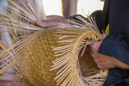basketry: Wickerwork or Basketry, handmade by local Thai people Stock Photo