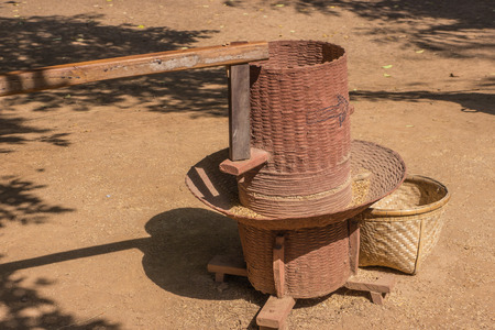 rice mill: Hand work rice mill in local Thailand