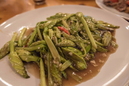 moonflower: Chinese moonflower stir-fried with chili and garlic sauce Stock Photo