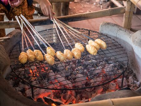 Grilled sticky rice, traditional food of Thai Isan Stock Photo