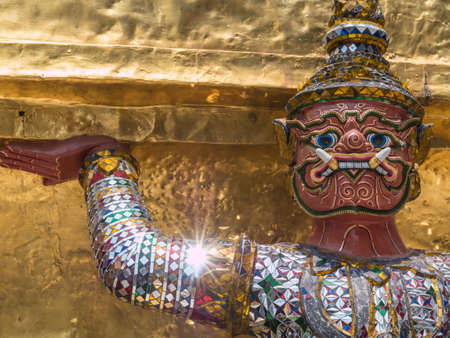 role: Huge guardian role in Wat Phra Kaew, landmark of Bangkok Stock Photo