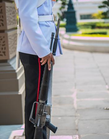 bayonet: Soldier with bayonet on guard Stock Photo