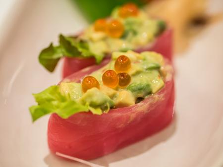 spawn: Tuna sushi with spawn on plate