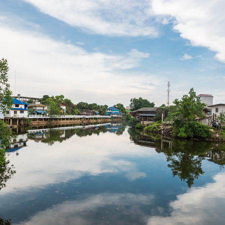 riverside landscape: Landscape of local house on riverside in Chantaburi, Thailand