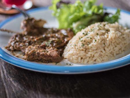 coarse: Roast pork with coarse rice