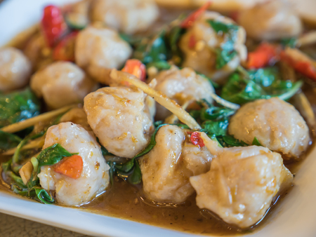 Fish ball stir fried with herbs Stock Photo