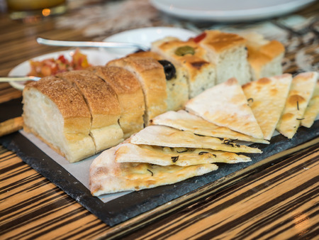 Appetizer bread, cracker with sauce