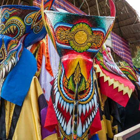 Phi Ta Khon festival, traditional colorful mask of north eastern in Thailand Stock Photo
