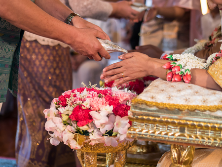 Thai wedding, watering conch ceremony