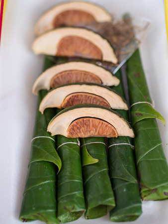 Betel leaf and Areca palm for warship in Buddhist way Stock Photo