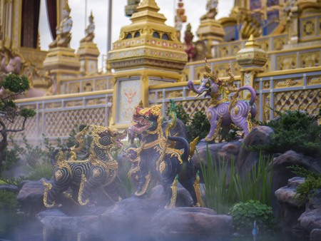Lion-like mythical creatures of Himvanta around The Royal crematorium