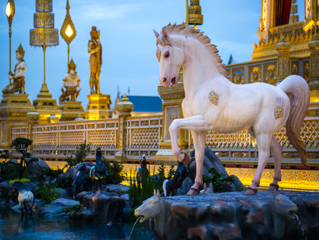 Horse-like mythical creatures of Himvanta around The Royal crematorium