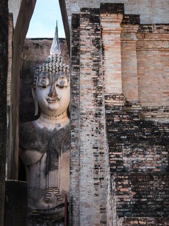 Buddha statue in Wat Sri Chum, Sukhothai historical park, landmark in Thailand