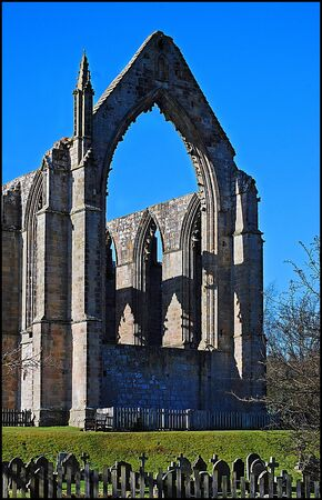 wharfedale: Picture postcard rendition of Bolton Abbey in Wharfedale North Yorkshire.