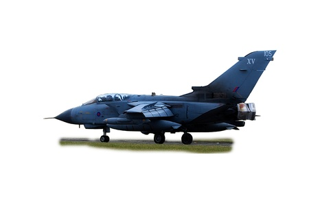 A Tornado GR4 -2 all weather attack aircraft isolated on white shown landing with air brakes deployed. Editorial