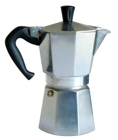 A traditional aluminium stovetop expresso coffee maker isolated on a white background